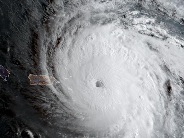 Hurricane Irma hitting Anguilla on September 6, 2017